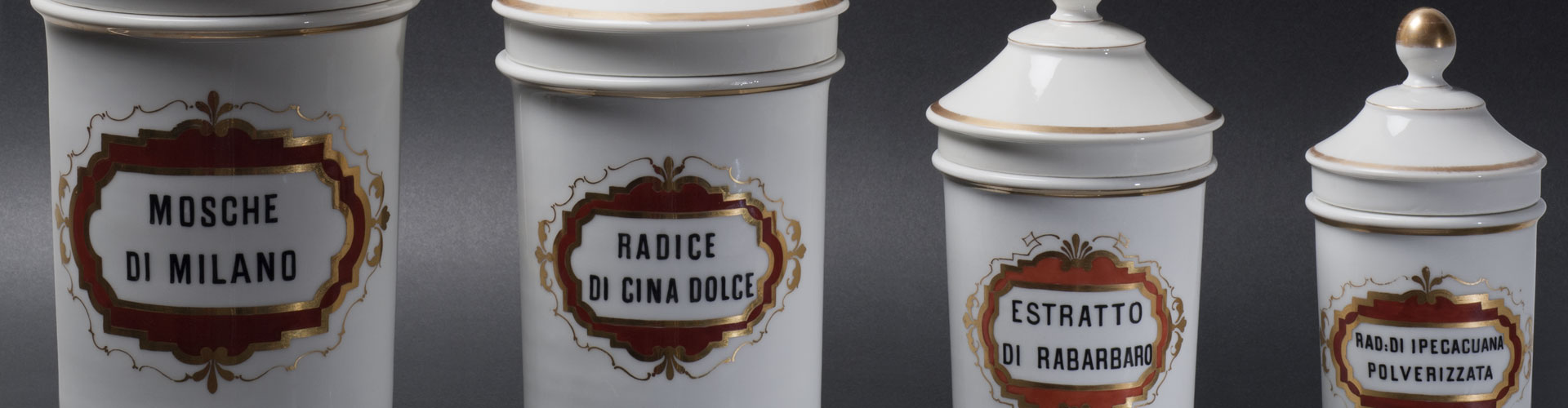 Mazzolini Giuseppucci Pharmacy Museum's Ginori collection of pharmacy porcelain vases and ingredient containers