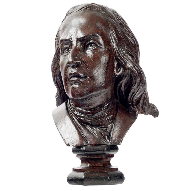 Wooden half-bust of french scientist Claude Louis Berthollet