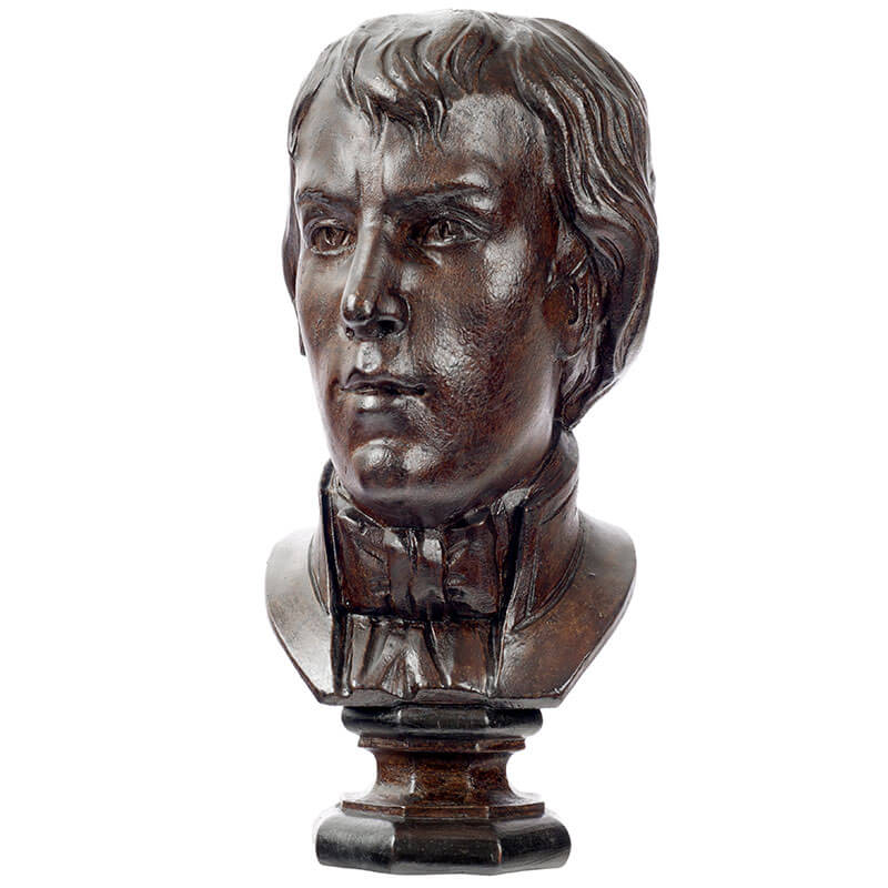 Wooden half-bust of british scientist Humphry Davy