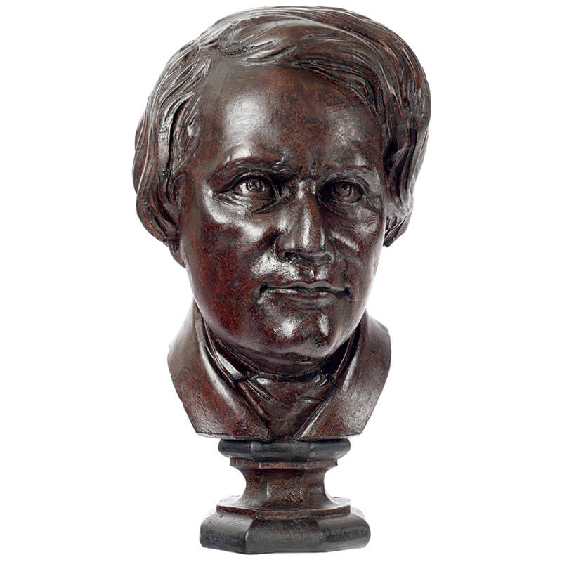 Wooden half-bust of french scientist Henri Victor Regnault